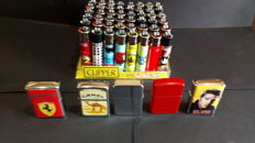 Lot of gas and petrol lighters
