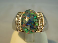 Vintage men's ring with large mosaic opal and tanzanites, from around 1950