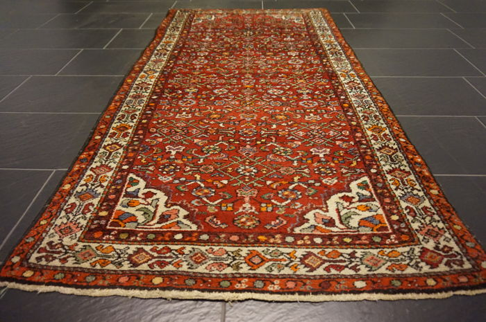 Rare beautiful semi-antique hand-knotted Persian carpet – Hamadan Malayer – plant colours – 100 x 195 cm