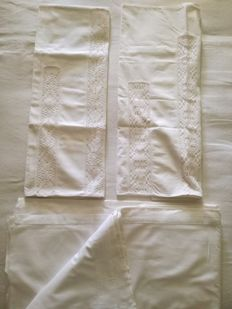 Set of 2 embroided pillow cases and top sheet, beginning XX Century