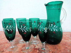 Vintage Set of Pitcher and 6 Footed Glasses, ca. 1980's