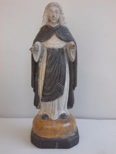 Antique beech wood sculpture of Saint Clare - Italy - early 19th century