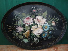 Large Floral Tin Tray - Oil Painted, Ca 1900