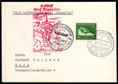 German Reich - 1939 - Zeppelin airmail from the flight to Germany, Kassel airdrop with 50 pfg green, Sieger 460