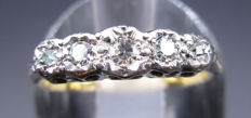 Five Stone Engagement Ring 18K Yellow Gold - Platinum Deep Set Diamonds Old Cut - 0.40 CT SI2K