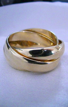 Gold 14 kt 3-part ring, broad, polished, jeweller's pass – 66 (EU)