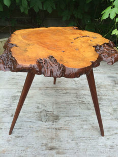 Walnut vintage side table. France. second half of the 20th century