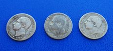 Spain – Lot of 3 coins, rare in this condition, of 1 peseta Alfonso XII – Years: 1881-1882*82-1883*18*83