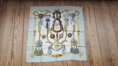 Rare item: Vintage, Hermès Paris scarf, 'Frontaux et Cocarde' – designed by Caty Latham. In good condition