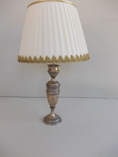 Antique vase in silver, marked 800, turned into a lamp with fabric shade and golden rim, Italy, early 1900