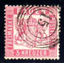 Baden – 1862 –  3 Kreuzer perforated 12 1/2 , Michel 16
