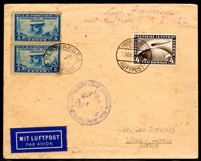 German Reich - 1929 - Zeppelin mail, 1st America flight, round trip with mixed franking 4RM brown Michel 424 and 5 cents(2) blue verified by Schlegel BPP