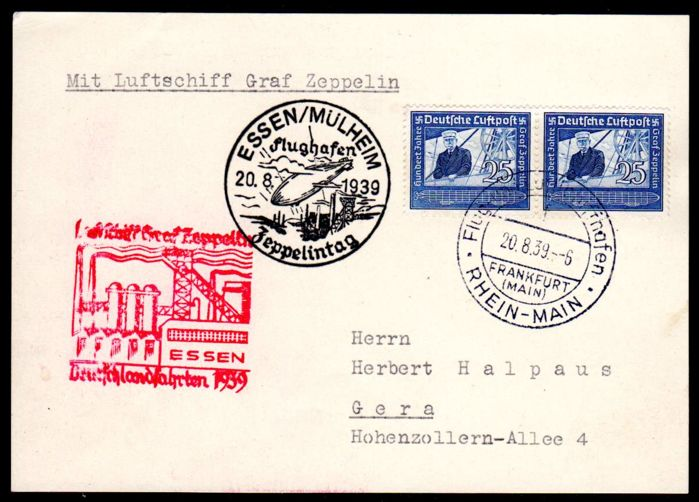 German Reich - 1939 - Zeppelin letter from the Germany journey with airmail stamp 25 Pf. Michel 669