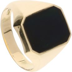 14 kt - Yellow gold ring set with a black onyx – Ring size: