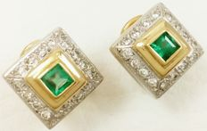 Earrings in 18 kt/750 white and yellow gold with diamonds and emeralds. Weight: 5.63 g Low Reserve
