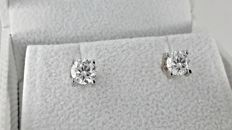 1.44 ct round diamond stud earrings 18kt gold  *** No Reserve Price ***