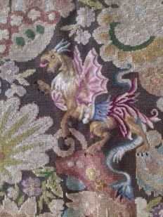 Antique French needlepoint embroidery with Dragon, ca. 1920-30