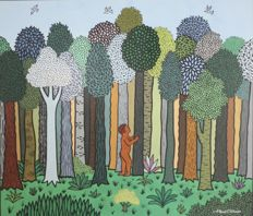 Edgar Calhado - Man in the forrest (naïve art)