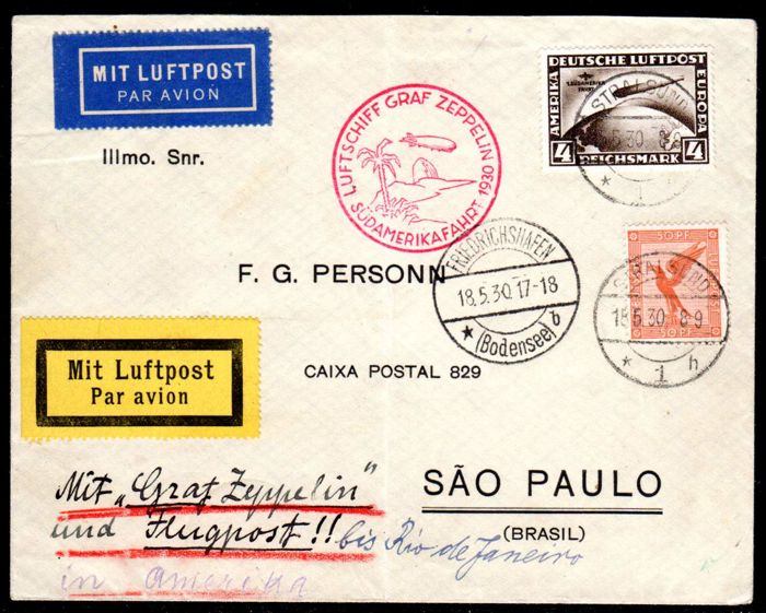 German Reich - 1930 - Zeppelin post, 4 RM South America flight on letter, 1st South America flight, Michel 439 X with Schlegel BPP photo attest
