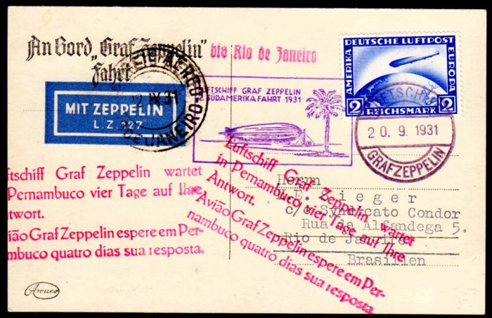 German Reich - 1931 - 2RM Zeppelin on postcard with LZ 127 to Brazil, Michel 423 EF