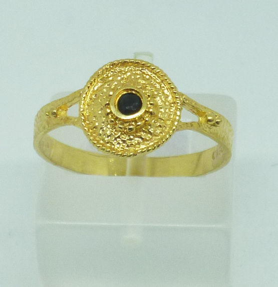 14k Gold Ring Greek Byzantine style with cubic zirconia - 58 (EU) -