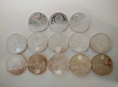 SPAIN – Juan Carlos I – Lot of 13 coins of 12 Euro and 2000 pesetas – 1994/2010 (Royal Mint of Spain)