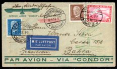 German Empire - 1932 - Zeppelin post, trip to South American from Frankfurt to Bahia/Brazil, with Michel 456, Sieger 177 Aq