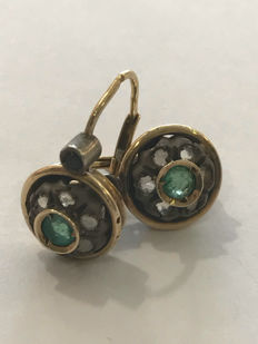 Vintage Earrings in gold and diamonds ** no reserve price **