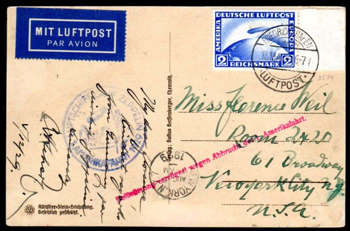 German Reich - 1929 - 2 RM Zeppelin on postcard with LZ 127 to New York, Michel 423 EF