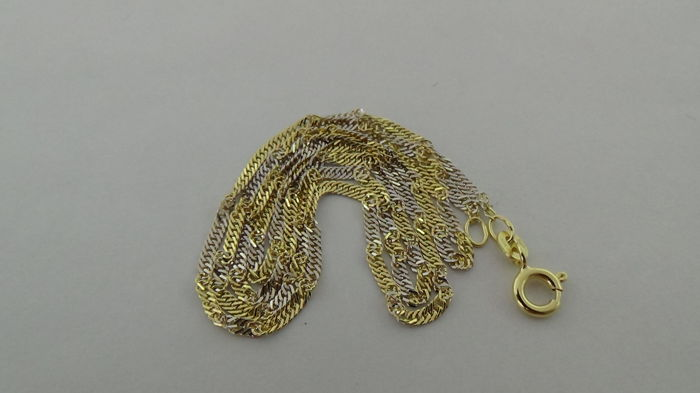14 kt Bicolour gold Singapore link necklace – Length: 42 cm