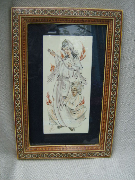 Hand-painted miniature in Khatam frame - Iran (Persia) - mid 20th century