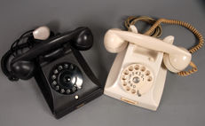 2 pcs Ericsson Bakelite PTT telephones black and white