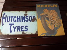Michelin Motorbike Tires Vitage ENAMEL METAL TIN SIGN WALL PLAQUE hutchinson tyres enamel sign