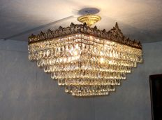 Extra Large brass and crystal Rectangular Chandelier, made in Turkey, 21th century