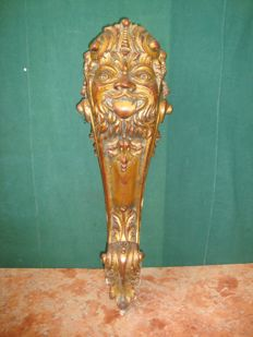 Large wooden console leg - gilded and with gesso - Italy -  ca. 1920