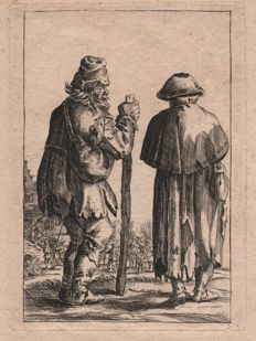 Pieter Quast (1605 - 1647) - Two Beggars etched by anonymous - Ca.  1700