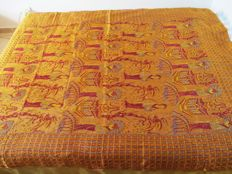 Damask bedspread with Asiatic designs - mid century - Portugal