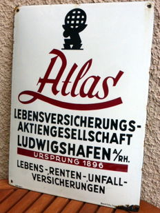 Enamel advertising sign for Atlas - Lebensversicherungsaktiengesellschaft - Germany - ca. 1925