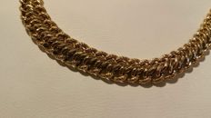 18 kt gold American link draped necklace, 45 cm.