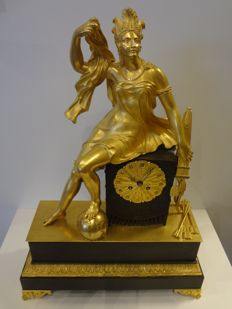 French pendulum clock - gilded - approx. 1830.