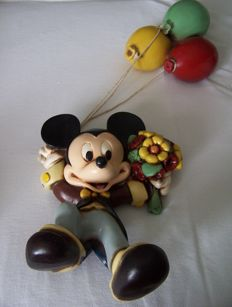 Disney, Walt - Figure - Mickey Mouse hanging from balloons + Minnie Mouse table lamp (1980s)