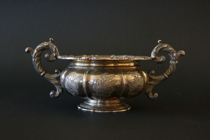 Austrian silver open sugar box 13 loth, 1st half 19th century