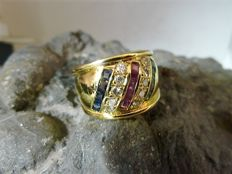 18 kt gold ring with brilliants, sapphires, rubies and emeralds