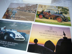 Christies auction catalogues from four auctions of important collectors cars, Bugatti Royal and Alfa Romeo, Ferrari, Maserati, Aston Martin, Lagonda, Bentley and more