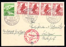 German Reich - 1938 - Zeppelin post for the journey to Sudetenland with boarding and propaganda cancellation
