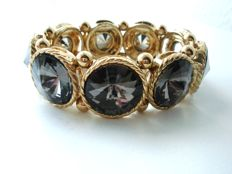 Vintage 1970s – Gold plated Bold Stretchy Bracelet with single row of large Smoky topaz crystals - Excellent