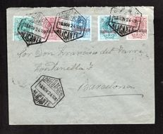 Spain 1920 - Circulated Letter 1924 Alicante to Barcelona - Edifil 292/296.