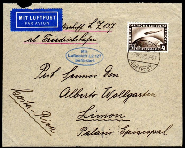 German Reich - 1928 - Zeppelin letter with 4RM Zeppelin LZ 127 to Costa Rica, Michel, 424 EF