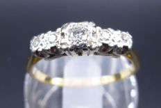 18K Yellow Gold 5 Stone Engagement ring - Diamonds are set in Platinum Round Cut - 0.45 CT SI1K