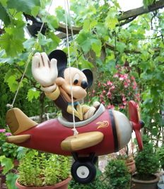 Disney, Walt - Figure - Mickey Mouse in Plane hanging from rope (1970s)